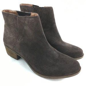 Ankle booties dark brown suede block heel Benissa